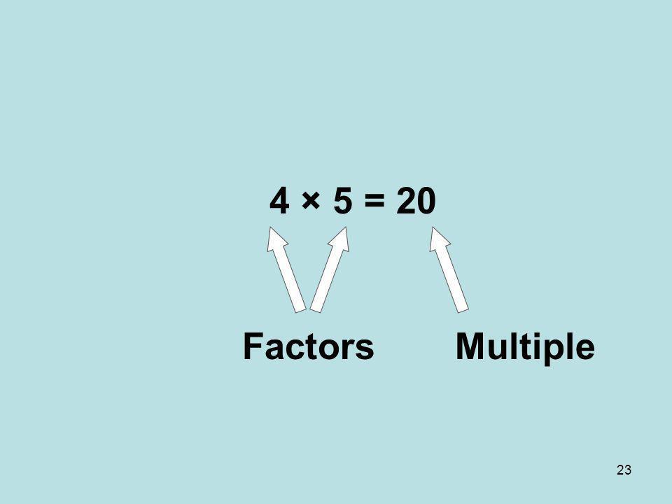 4 × 5 = 20 Factors Multiple