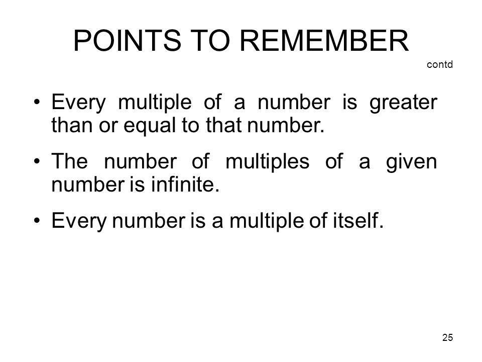 POINTS TO REMEMBER contd