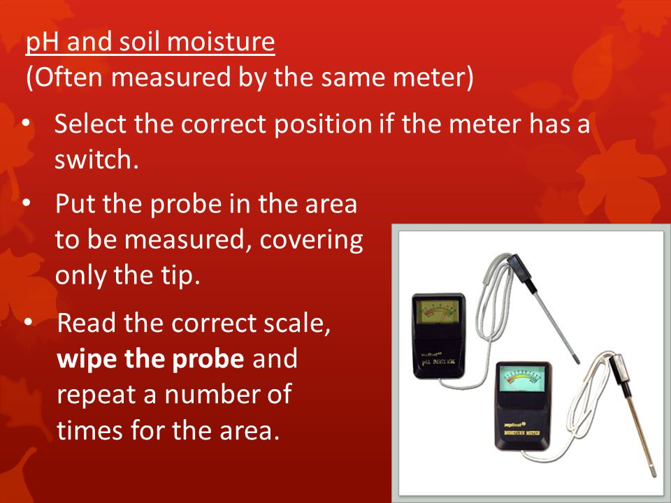 pH and soil moisture (Often measured by the same meter) Select the correct position if the meter has a switch.