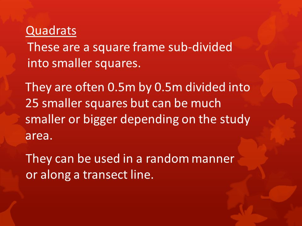 Quadrats These are a square frame sub-divided. into smaller squares. They are often 0.5m by 0.5m divided into.