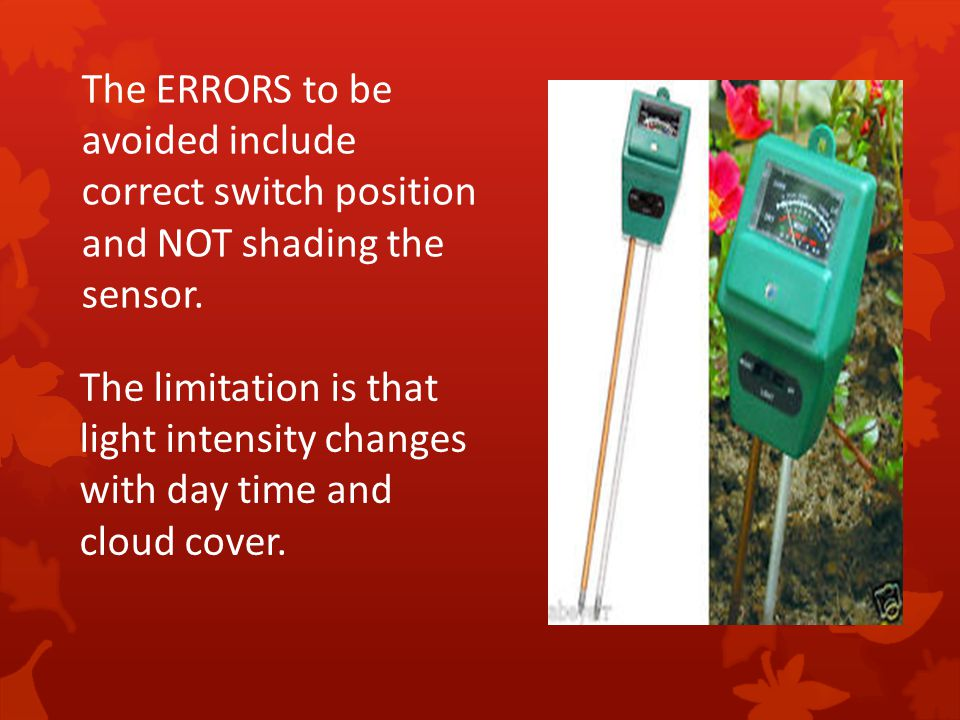 The ERRORS to be avoided include correct switch position and NOT shading the sensor.