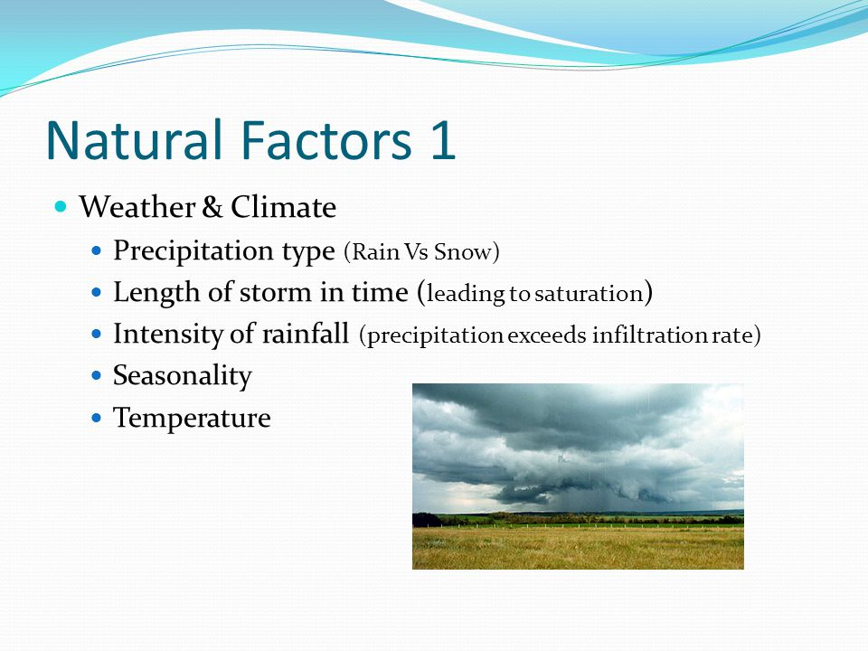Natural Factors 1 Weather & Climate Precipitation type (Rain Vs Snow)