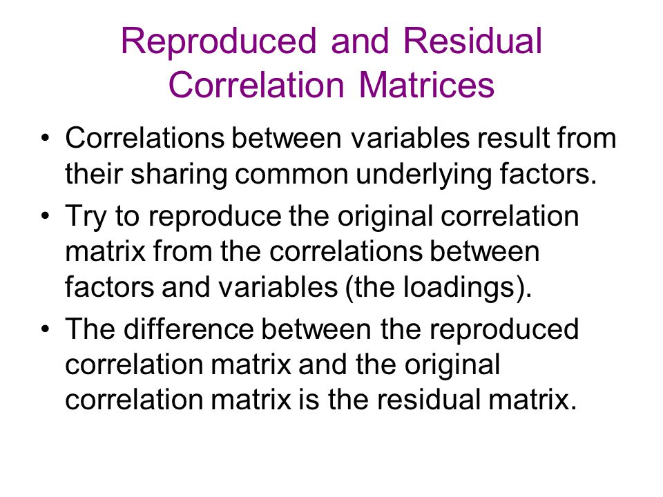 Reproduced and Residual Correlation Matrices