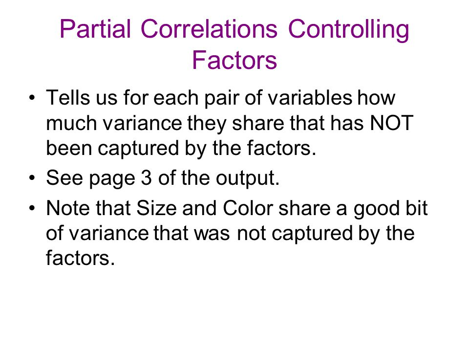 Partial Correlations Controlling Factors