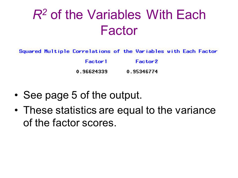 R2 of the Variables With Each Factor
