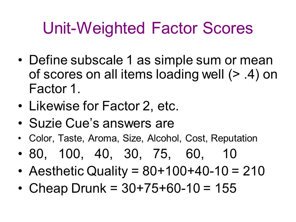 Unit-Weighted Factor Scores