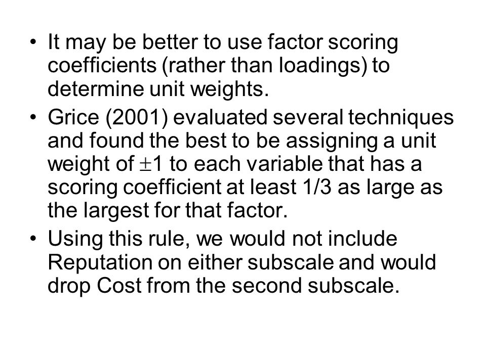 It may be better to use factor scoring coefficients (rather than loadings) to determine unit weights.