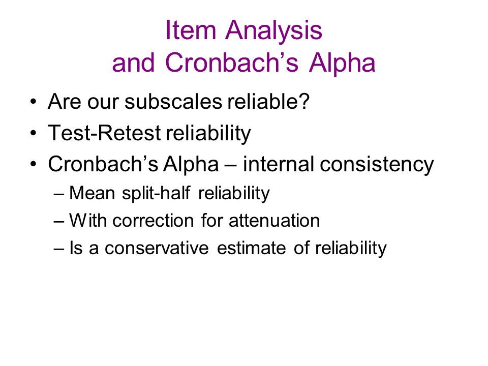 Item Analysis and Cronbach's Alpha