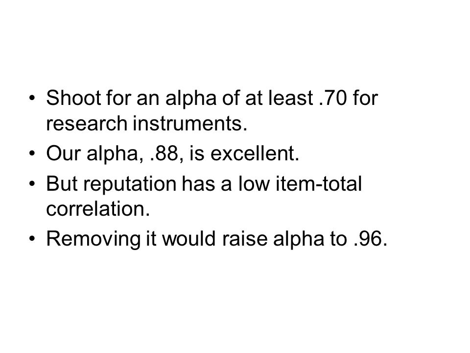 Shoot for an alpha of at least .70 for research instruments.