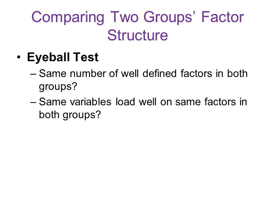 Comparing Two Groups' Factor Structure