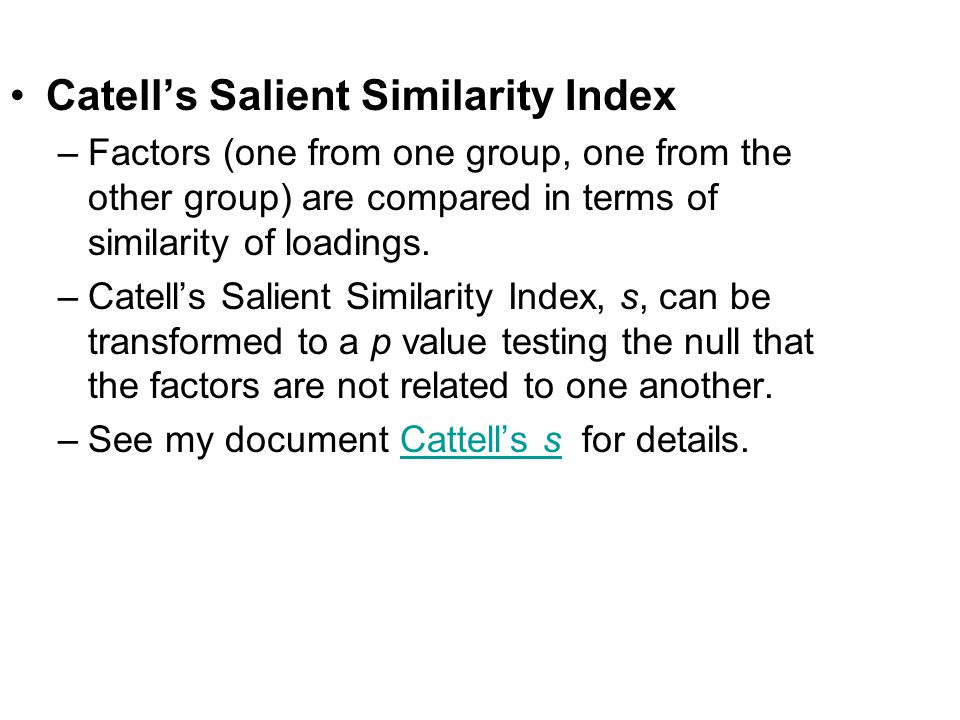 Catell's Salient Similarity Index