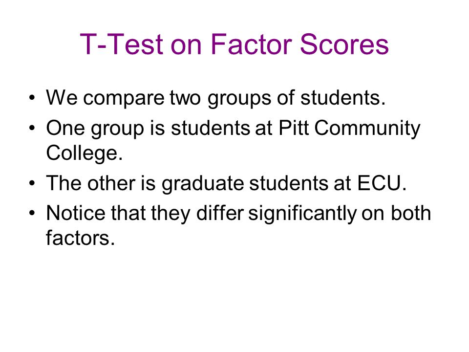 T-Test on Factor Scores