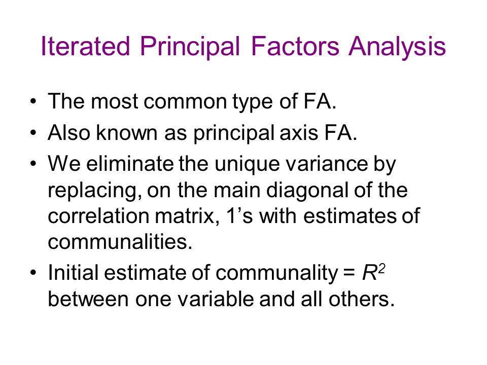 Iterated Principal Factors Analysis