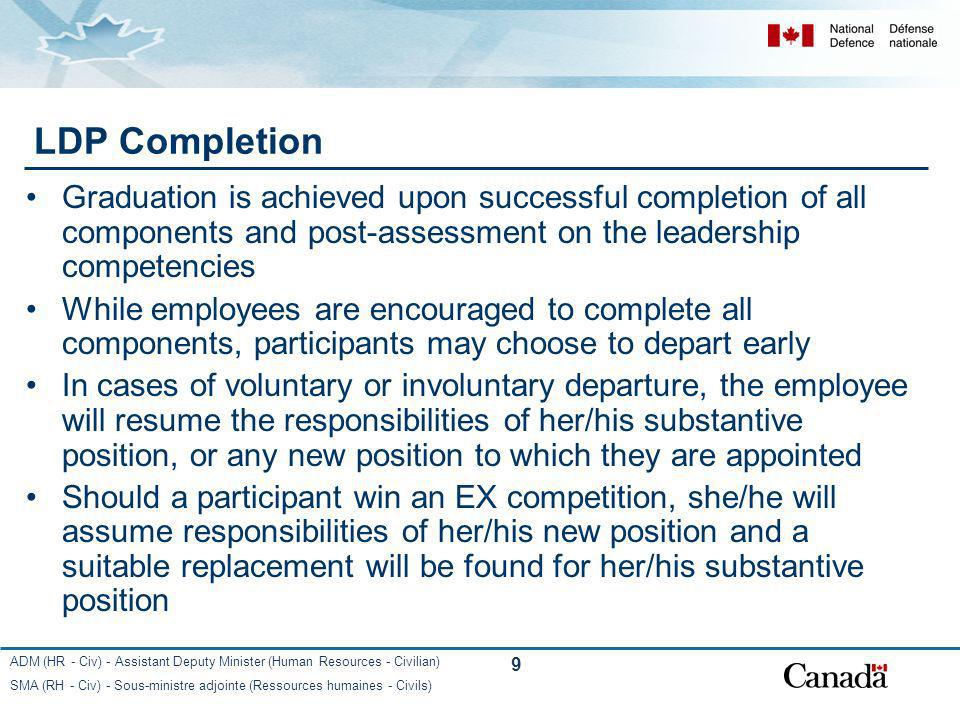 LDP Completion Graduation is achieved upon successful completion of all components and post-assessment on the leadership competencies