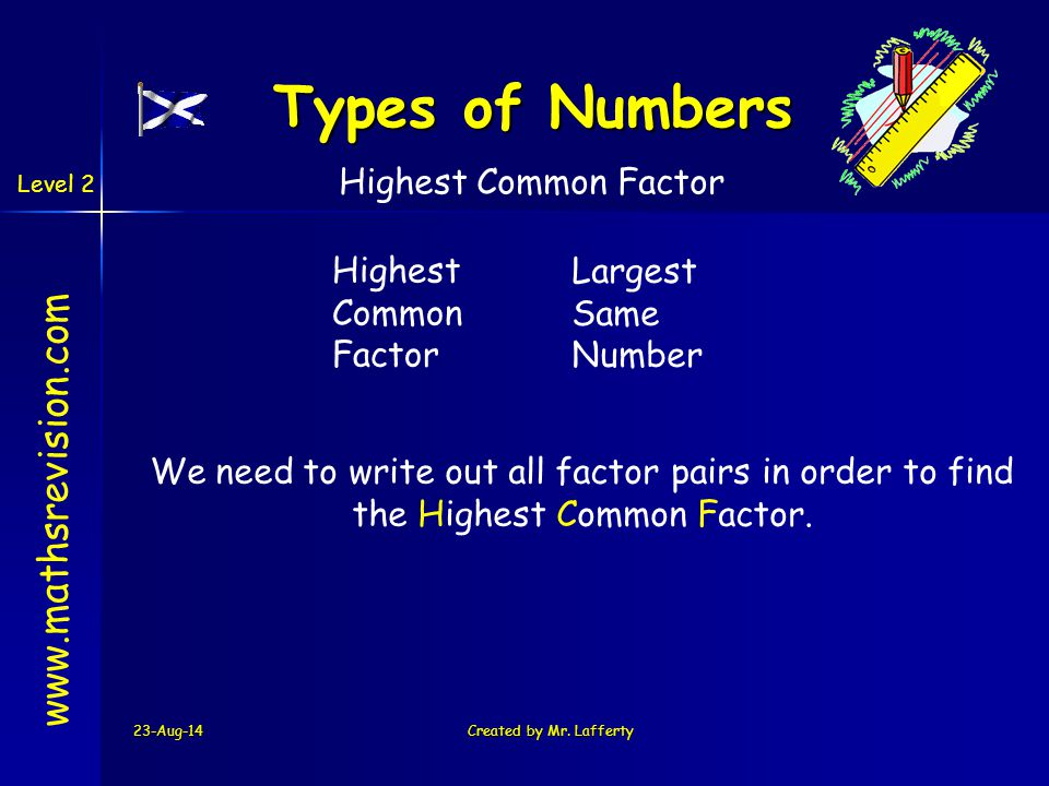 Types of Numbers www.mathsrevision.com Highest Common Factor Highest