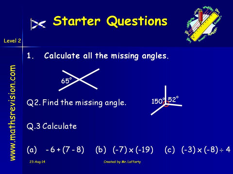 Starter Questions www.mathsrevision.com 65o 52o 150o 5-Apr-17