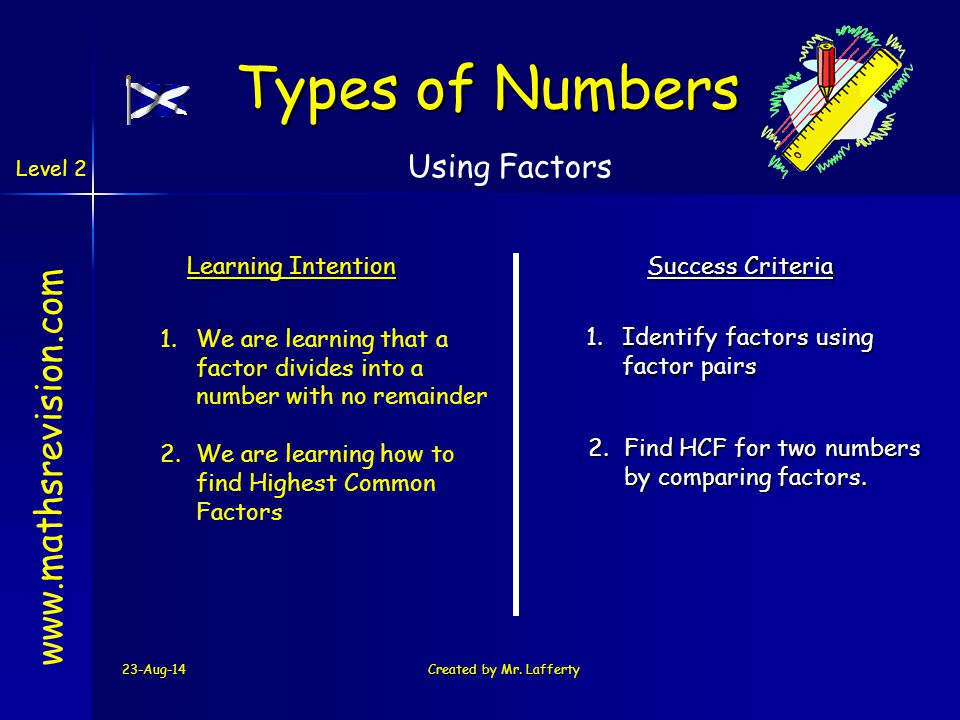 Types of Numbers www.mathsrevision.com Using Factors