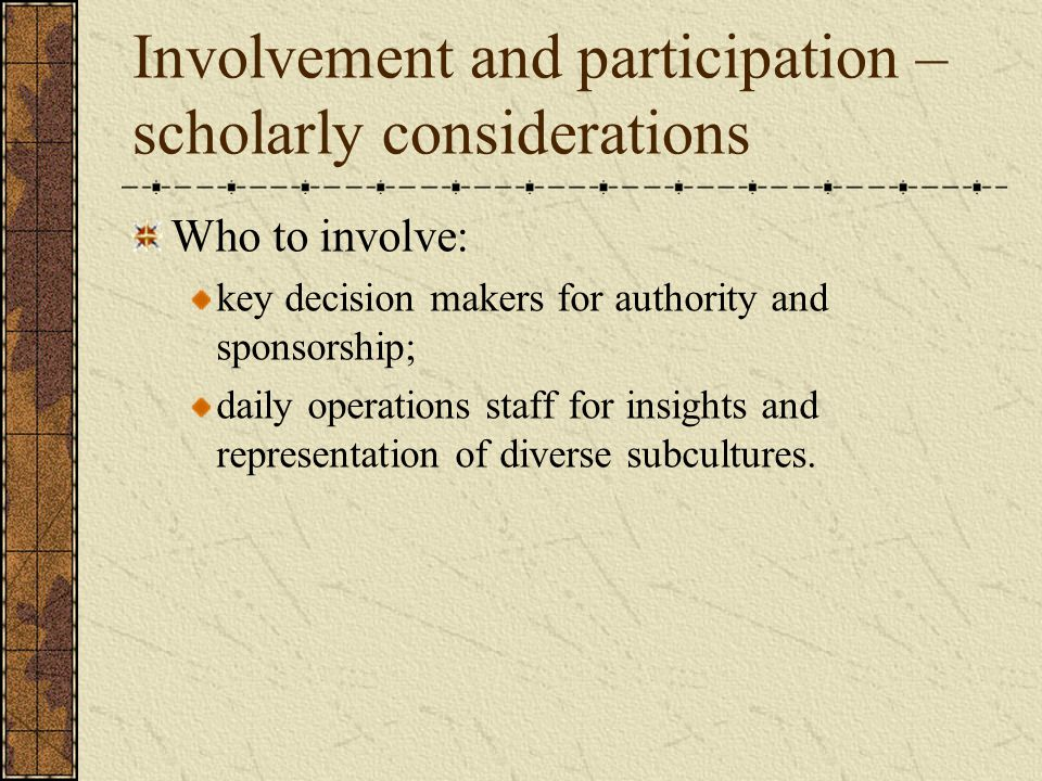 Involvement and participation – scholarly considerations