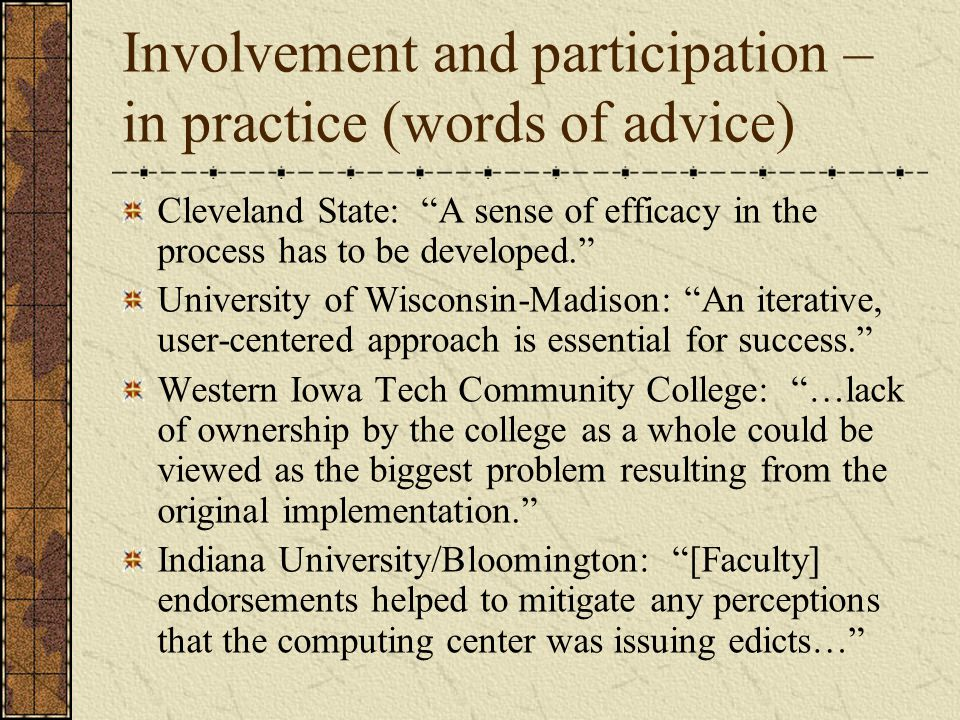 Involvement and participation – in practice (words of advice)