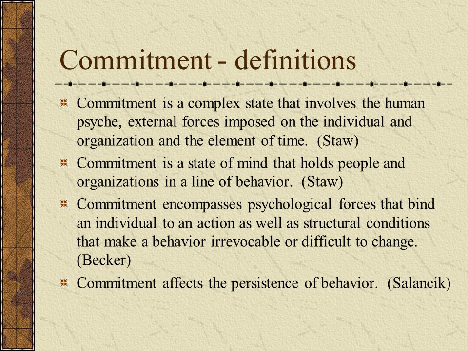 Commitment - definitions