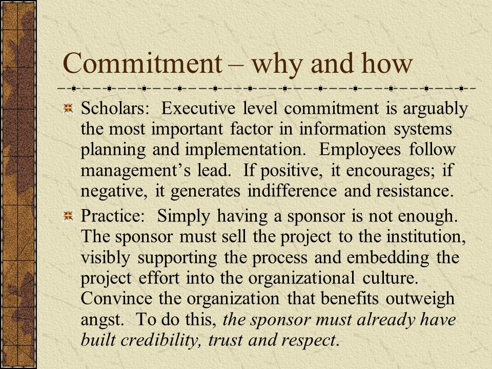 Commitment – why and how