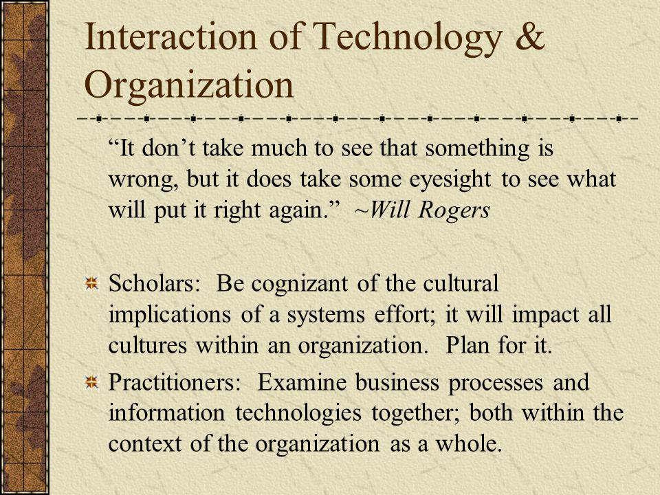 Interaction of Technology & Organization