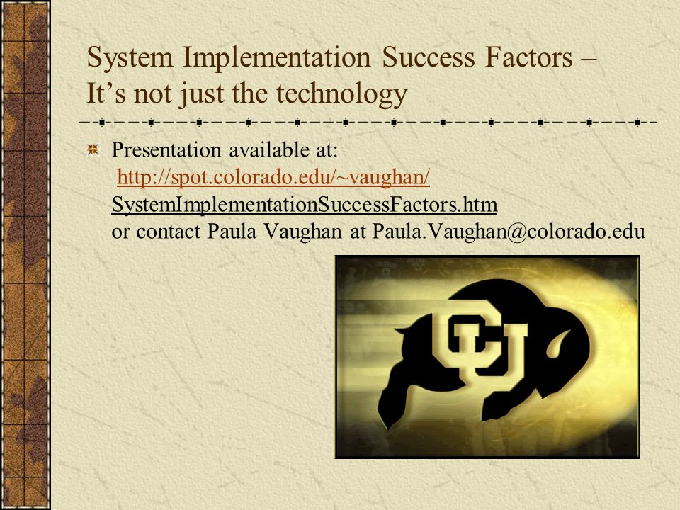 System Implementation Success Factors – It's not just the technology