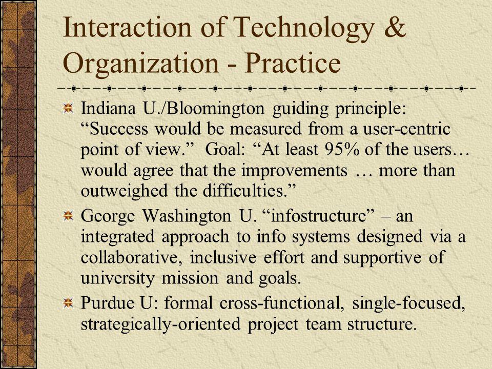 Interaction of Technology & Organization - Practice