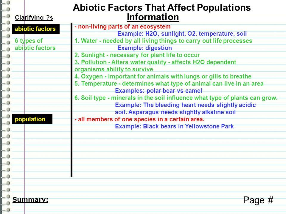 Abiotic Factors That Affect Populations