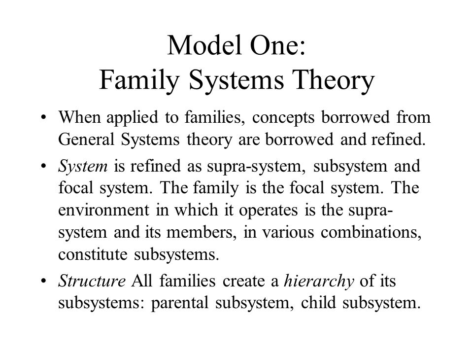 Model One: Family Systems Theory