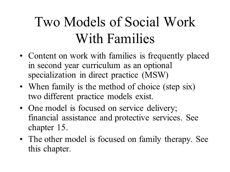 Two Models of Social Work With Families