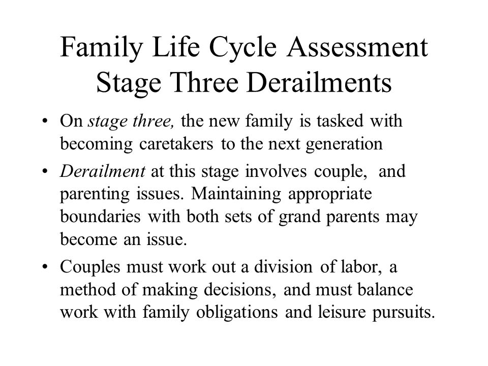 Family Life Cycle Assessment Stage Three Derailments