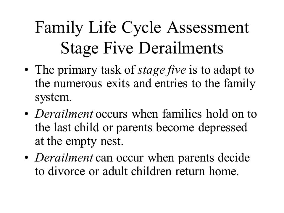 Family Life Cycle Assessment Stage Five Derailments