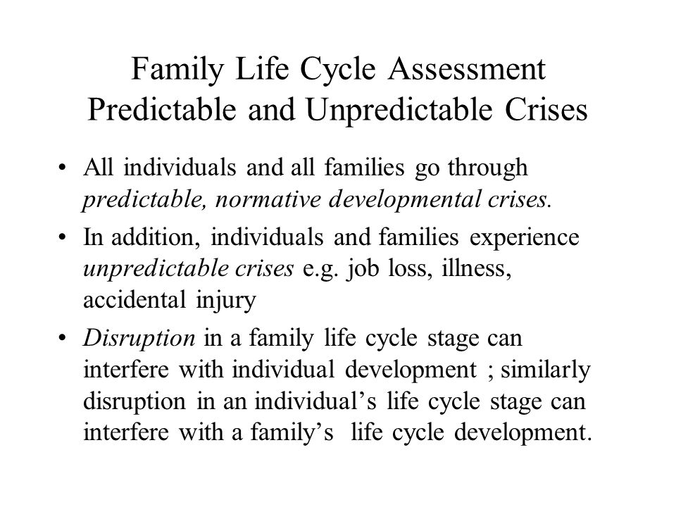 Family Life Cycle Assessment Predictable and Unpredictable Crises