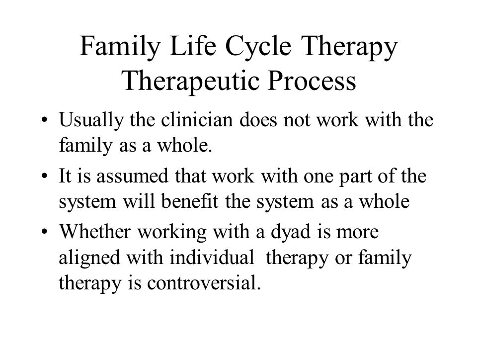 Family Life Cycle Therapy Therapeutic Process