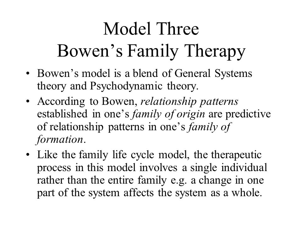 Model Three Bowen's Family Therapy