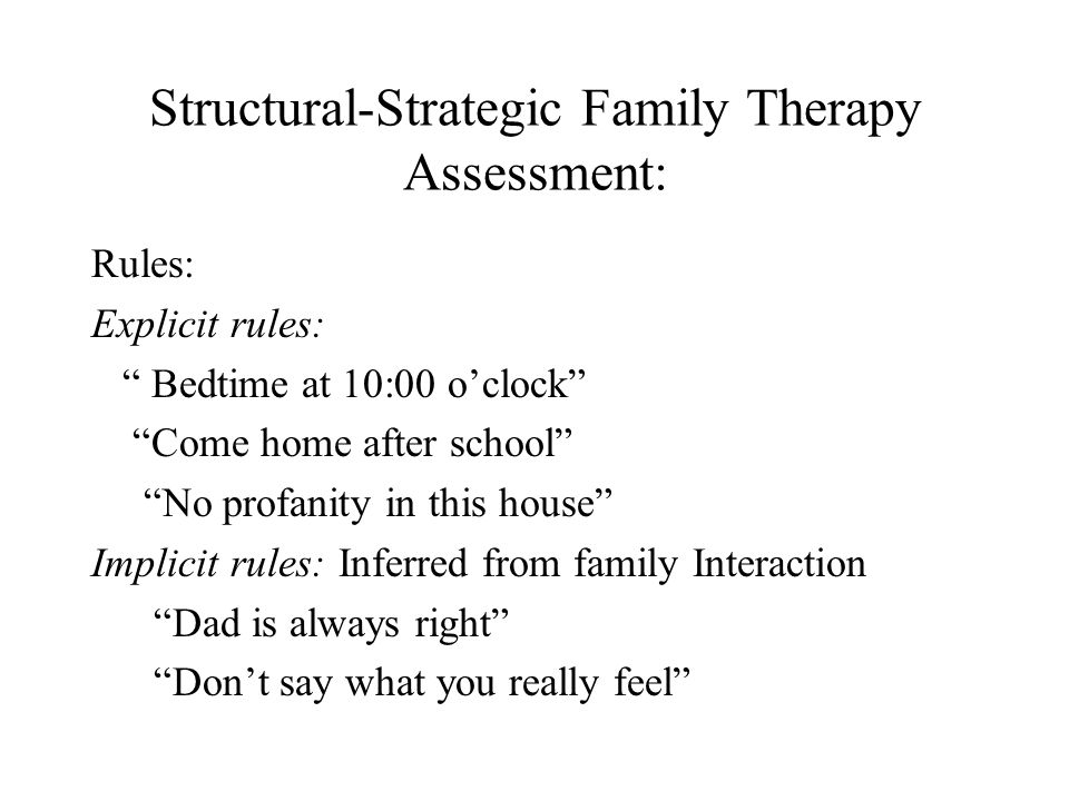Structural-Strategic Family Therapy Assessment: