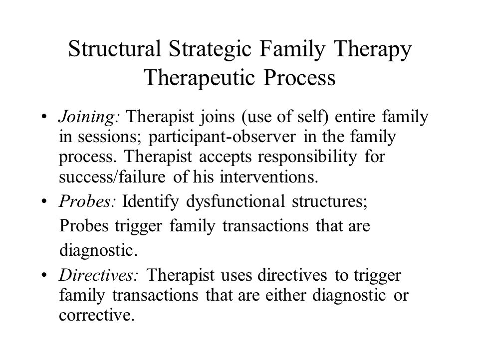 Structural Strategic Family Therapy Therapeutic Process