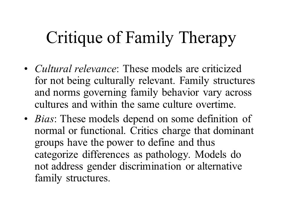 Critique of Family Therapy