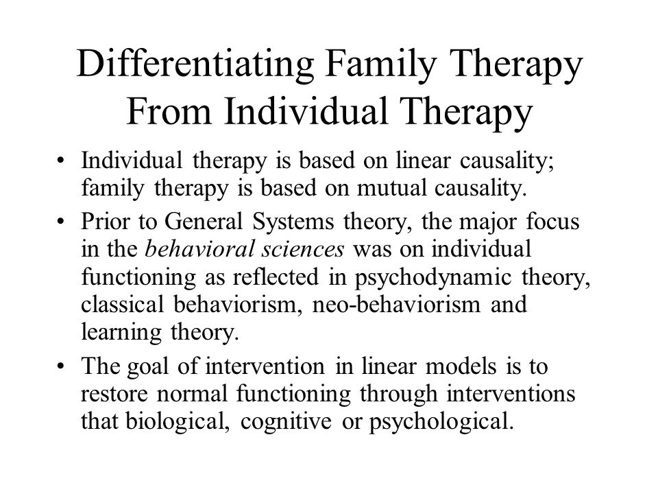 Differentiating Family Therapy From Individual Therapy