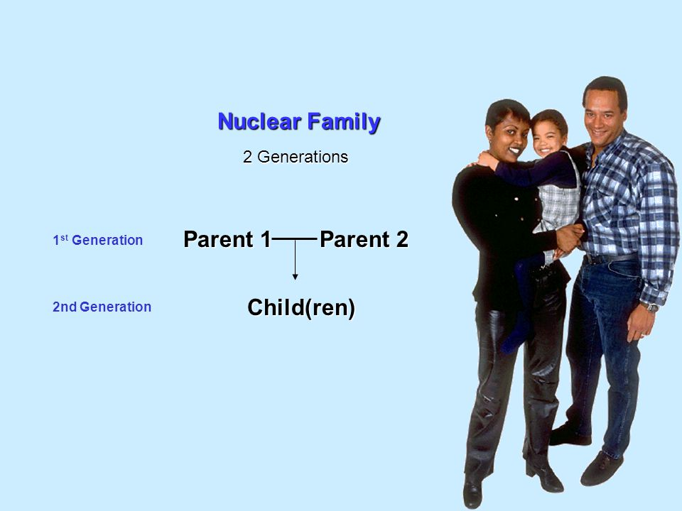 Nuclear Family Parent 1 Parent 2 Child(ren) 2 Generations
