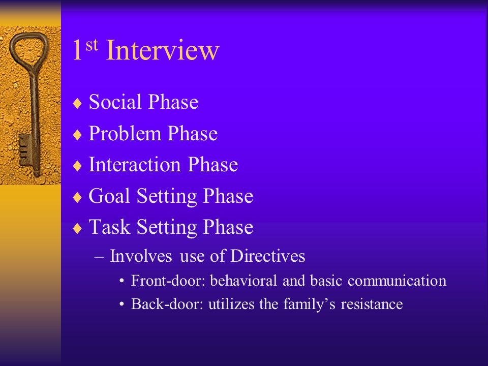 1st Interview Social Phase Problem Phase Interaction Phase