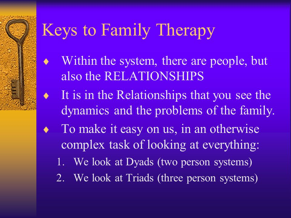 Keys to Family Therapy Within the system, there are people, but also the RELATIONSHIPS.