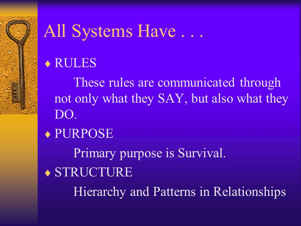 All Systems Have . . . RULES. These rules are communicated through not only what they SAY, but also what they DO.