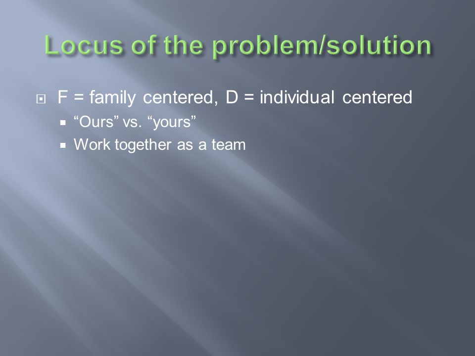 Locus of the problem/solution