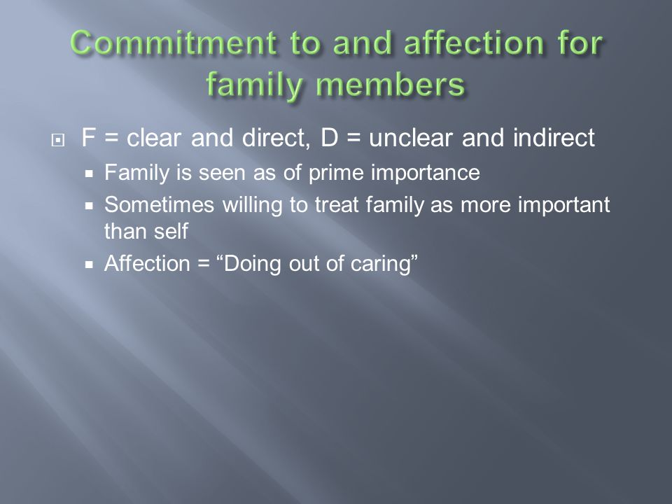Commitment to and affection for family members