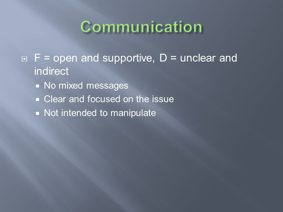 Communication F = open and supportive, D = unclear and indirect