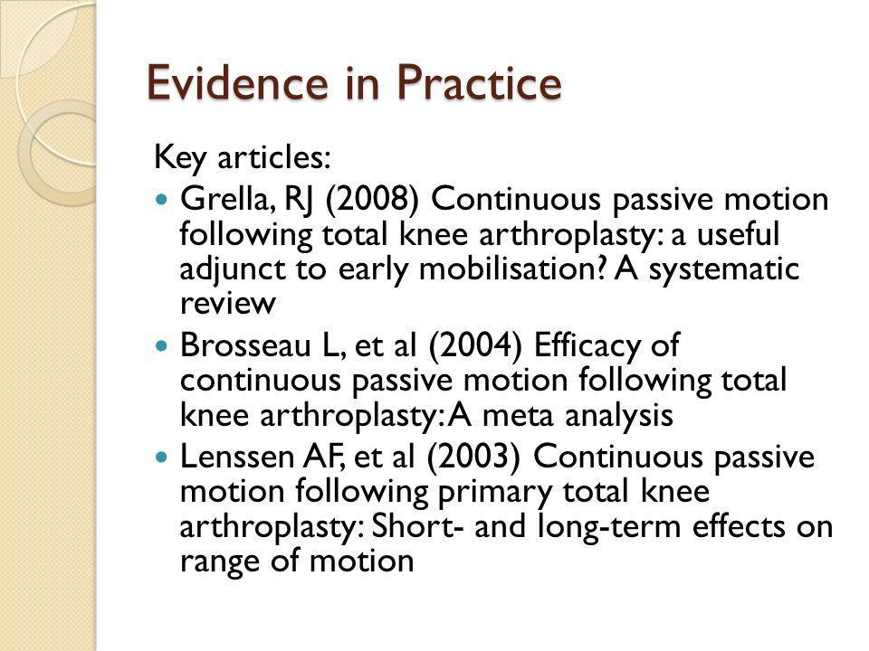 Evidence in Practice Key articles: