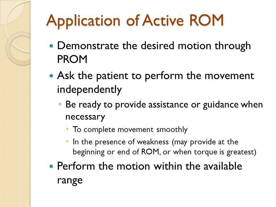 Application of Active ROM