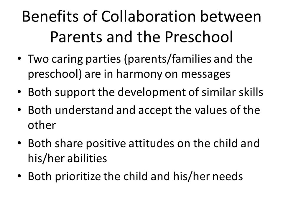 Benefits of Collaboration between Parents and the Preschool
